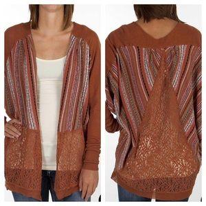 BKE Flyaway Dolman Lace Cardigan Sweater